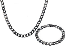 Load image into Gallery viewer, Mens Gunmetal Stainless Steel Curb Link Chain Set With Cubic Zirconia - Blackjack Jewelry