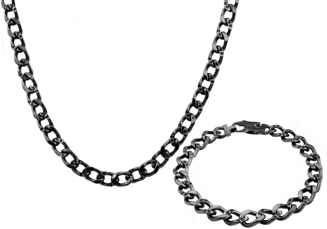 Mens Gunmetal Stainless Steel Curb Link Chain Set With Cubic Zirconia - Blackjack Jewelry