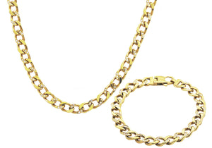 Mens Gold Plated Stainless Steel Curb Link Chain Set With Cubic Zirconia - Blackjack Jewelry