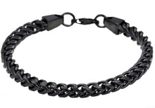 Load image into Gallery viewer, Mens Black Plated Stainless Steel  Rounded Franco Link Chain Bracelet - Blackjack Jewelry