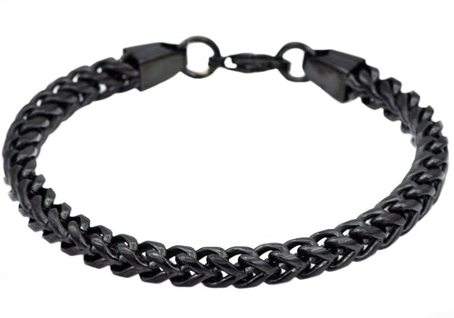 Mens Black Plated Stainless Steel  Rounded Franco Link Chain Bracelet - Blackjack Jewelry