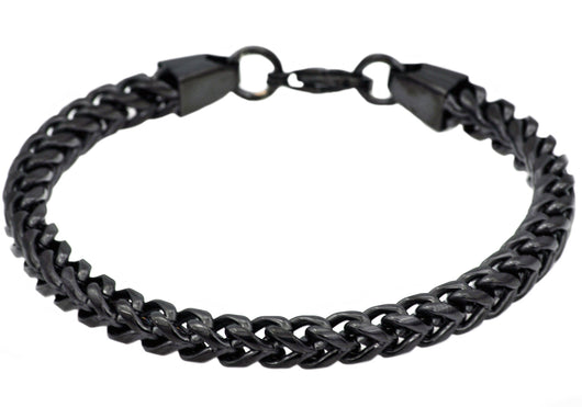 Mens Black Plated Stainless Steel Franco Link Chain Bracelet - Blackjack Jewelry
