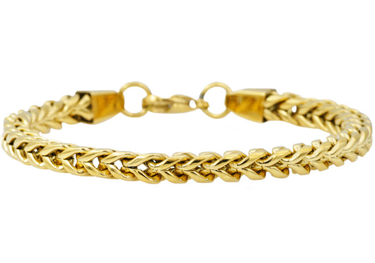 Mens Gold Plated Stainless Steel Rounded Franco Link Chain Bracelet - Blackjack Jewelry