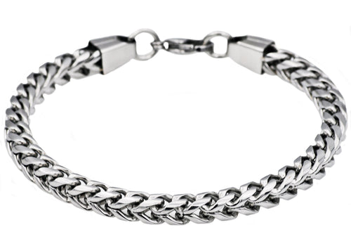 Mens Stainless Steel Rounded Franco Link Chain Bracelet - Blackjack Jewelry