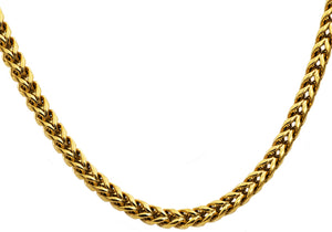 Mens Gold Plated Stainless Steel Rounded Franco Link Chain Necklace - Blackjack Jewelry