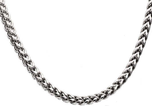 Mens Stainless Steel Rounded Franco Link Chain Necklace - Blackjack Jewelry