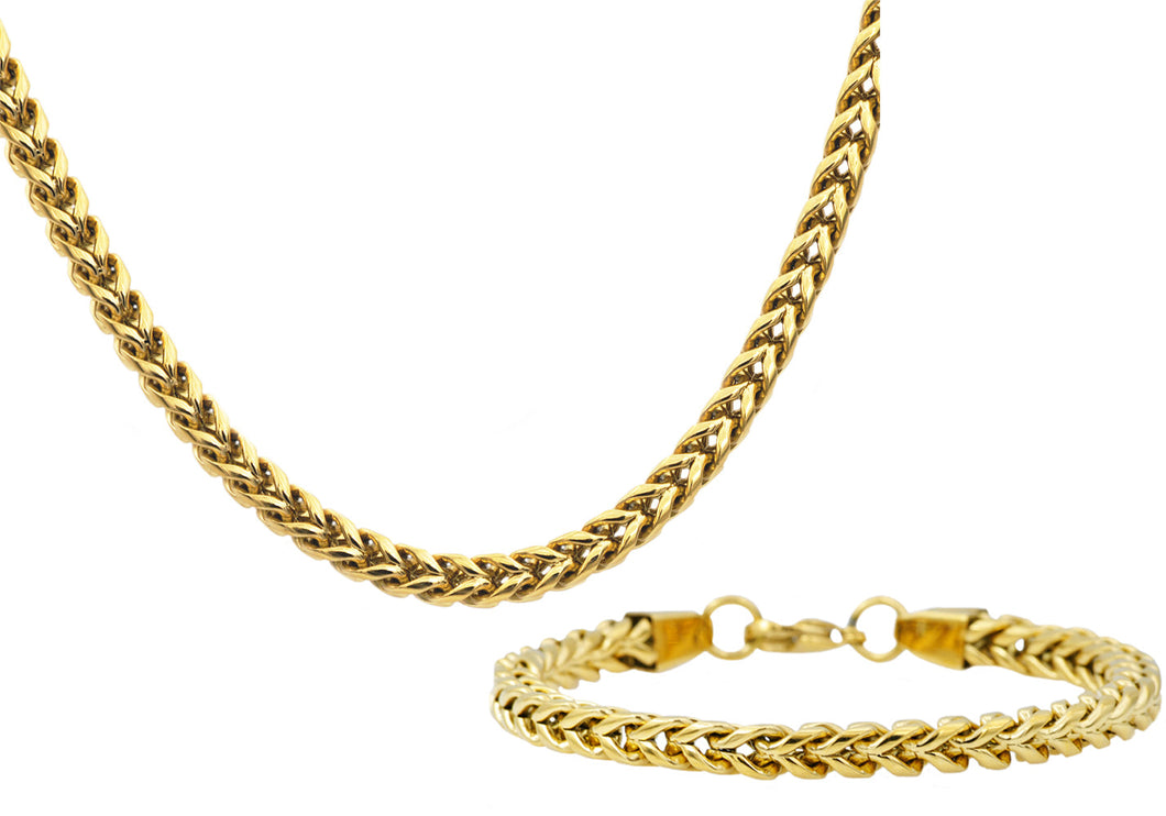 Mens Gold Plated Rounded Stainless Steel Franco Link Chain Set - Blackjack Jewelry