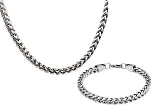 Mens Stainless Steel Rounded Franco Link Chain Set - Blackjack Jewelry