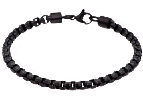 Mens Diamond Cut Black Plated Stainless Steel Box Rolo Link Bracelet - Blackjack Jewelry
