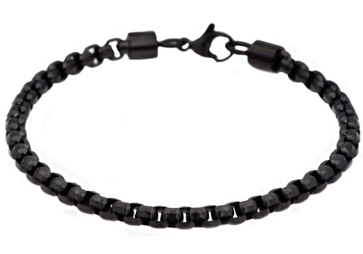 Mens Black Plated Stainless Steel Rolo Link Bracelet - Blackjack Jewelry