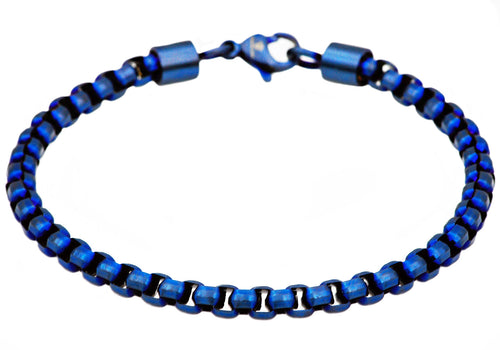 Mens Diamond Cut Blue Plated Stainless Steel Box Rolo Link Bracelet - Blackjack Jewelry