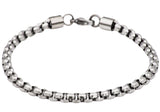 Mens Diamond Cut Stainless Steel Box Rolo Link Bracelet - Blackjack Jewelry