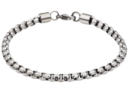 Mens Stainless Steel Rolo Link Bracelet - Blackjack Jewelry