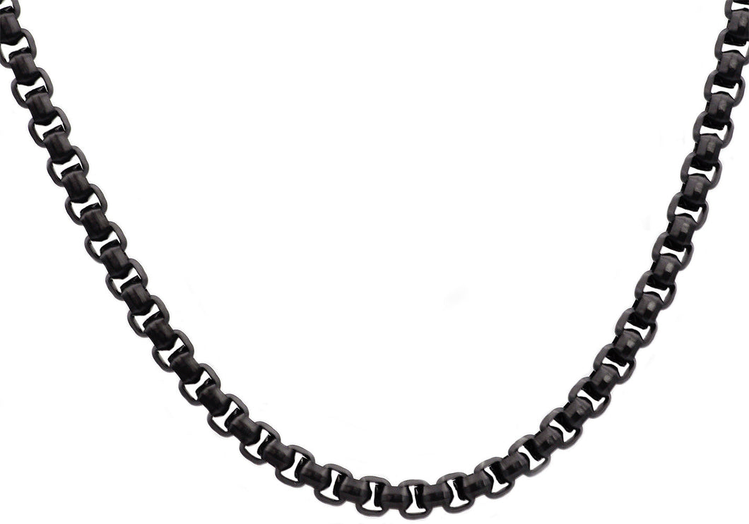 Mens Diamond Cut Black Stainless Steel Box Rolo Link Chain Necklace - Blackjack Jewelry