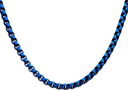 Mens Diamond Cut Blue Plated Stainless Steel Box Rolo Link Necklace - Blackjack Jewelry