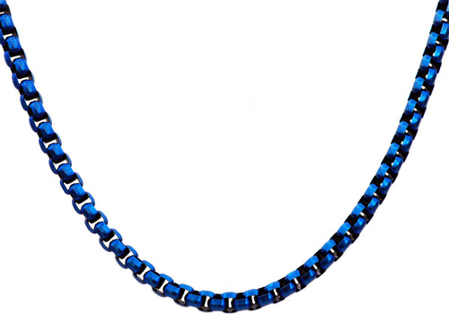 Mens Diamond Cut Blue Stainless Steel Box Rolo Link Necklace - Blackjack Jewelry