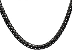 Mens Black Plated Stainless Steel Franco Link Chain Necklace - Blackjack Jewelry
