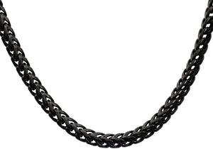 Mens 8mm Black Plated Stainless Steel Franco Link Chain Necklace - Blackjack Jewelry