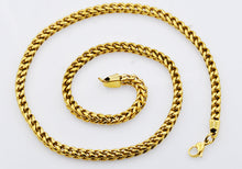 Load image into Gallery viewer, Mens Gold Plated Stainless Steel Rounded Franco Link Chain Necklace - Blackjack Jewelry