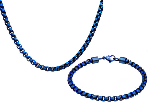 Mens Diamond Cut Blue Stainless Steel Box Rolo Link Chain Set - Blackjack Jewelry