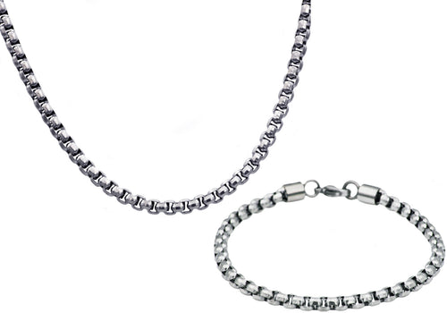 Mens Diamond Cut Stainless Steel Box Rolo Link Chain Set - Blackjack Jewelry
