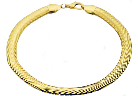 Mens Gold Plated Stainless Steel Flat Snake Link Chain Bracelet - Blackjack Jewelry