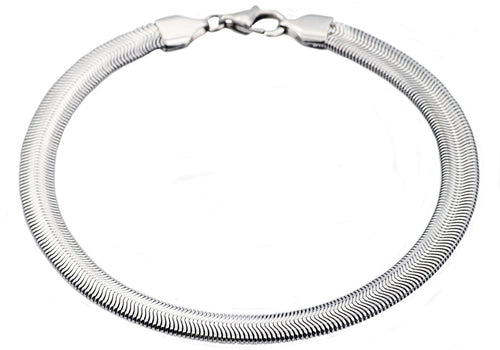 Mens Stainless Steel Flat Snake Link Chain Bracelet - Blackjack Jewelry