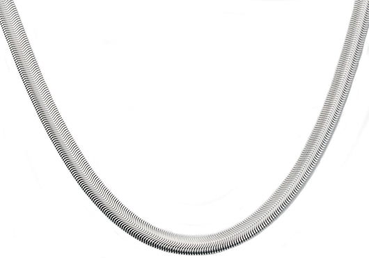 Mens Stainless Steel Flat Snake Link Chain Necklace