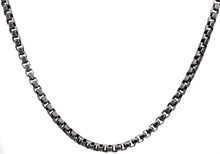 Load image into Gallery viewer, Mens Antique Plated Stainless Steel Box Link Chain Necklace - Blackjack Jewelry