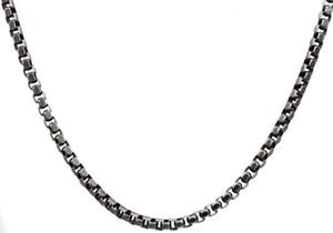 Mens Antique Plated Stainless Steel Box Link Chain Necklace - Blackjack Jewelry