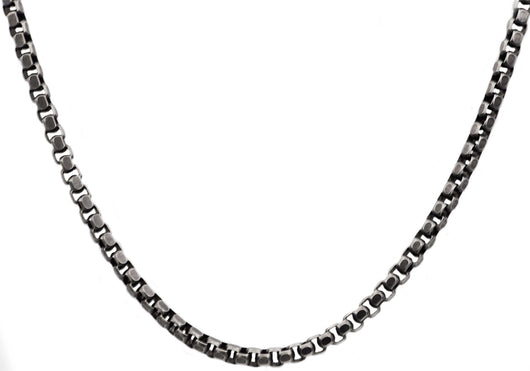Mens Black Plated Stainless Steel Box Link Chain Necklace - Blackjack Jewelry