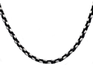 Mens Antique Styled Stainless Steel Link Chain Necklace - Blackjack Jewelry