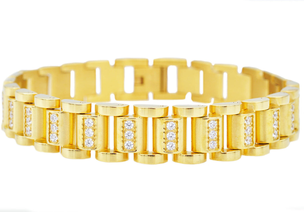 Mens Gold Stainless Steel Link Bracelet With Cubic Zirconia - Blackjack Jewelry