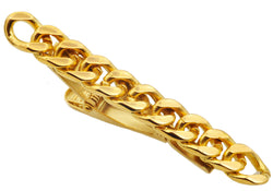Mens Gold Plated Stainless Steel Chain Tie Clip