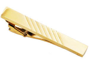 Mens Gold Plated Stainless Steel Tie Clip - Blackjack Jewelry