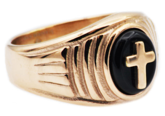 Mens Onyx And Rose Gold Plated Stainless Steel Cross Ring - Blackjack Jewelry