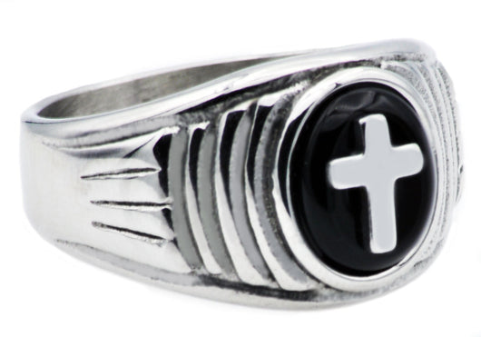 Mens Onyx And Stainless Steel Cross Ring