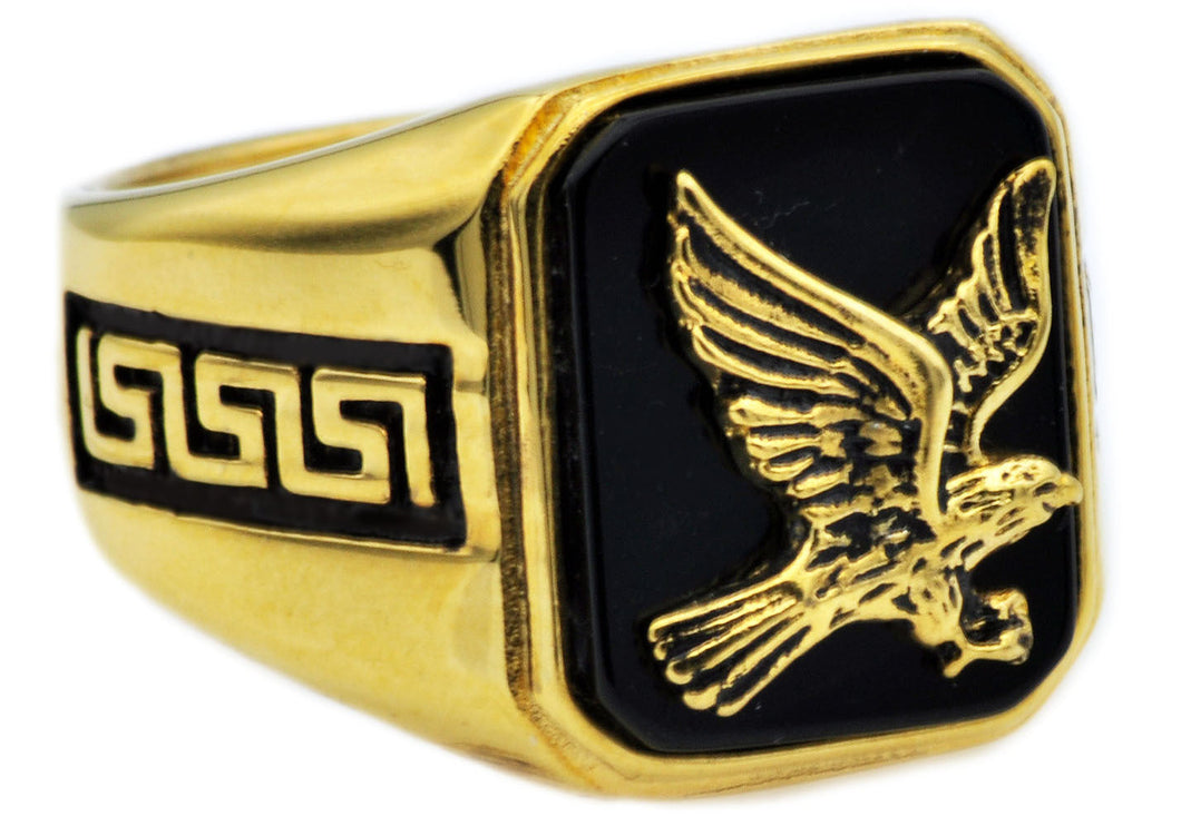 Mens Onyx And Gold Plated Stainless Steel Eagle Ring - Blackjack Jewelry
