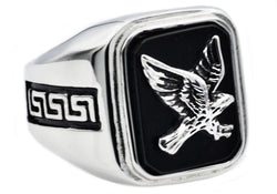 Mens Onyx And Stainless Steel Eagle Ring