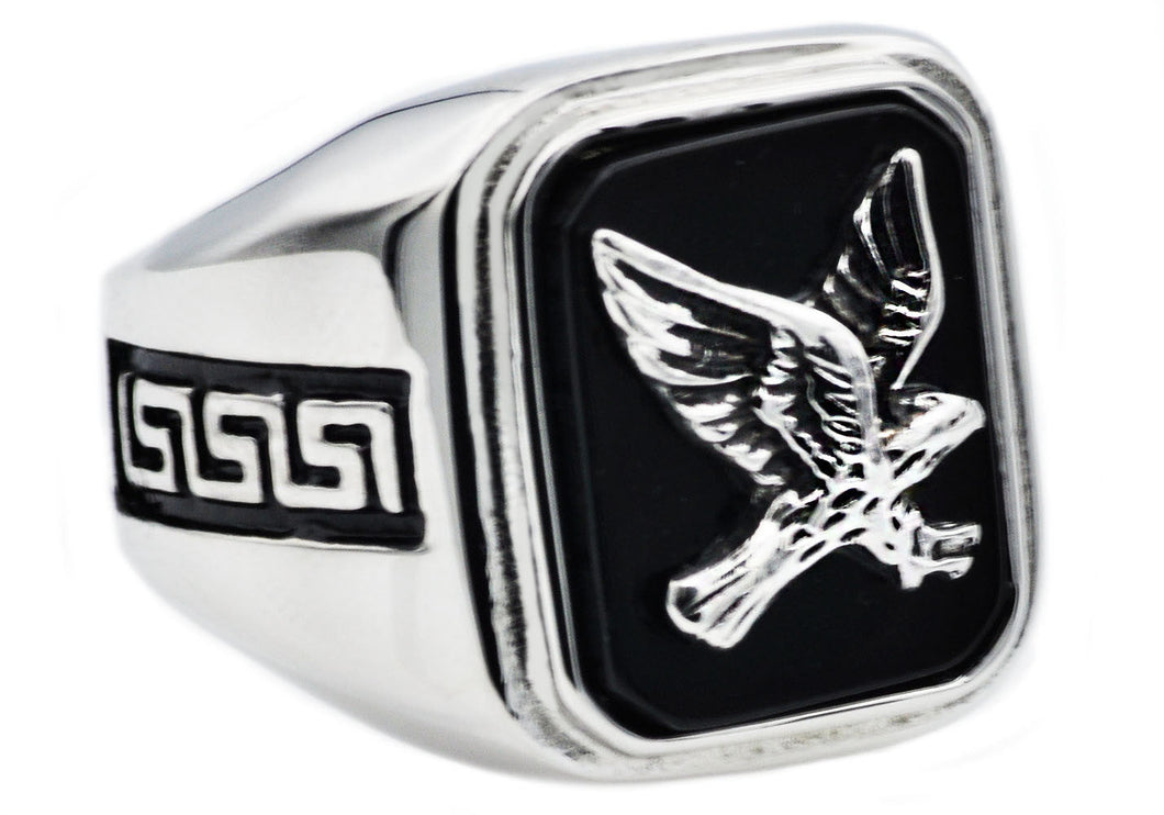 Mens Onyx And Stainless Steel Eagle Ring - Blackjack Jewelry