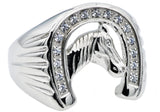 Mens Stainless Steel Horse Shoe Ring WIth Cubic Zirconia - Blackjack Jewelry