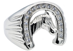 Mens Stainless Steel Horse Shoe Ring WIth Cubic Zirconia