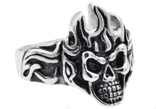 Mens Stainless Steel Flaming Skull Ring