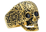 Mens Gold Plated Stainless Steel Skull Ring With Black Cubic Zirconia