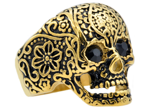 Mens Gold Plated Stainless Steel Skull Ring With Black Cubic Zirconia - Blackjack Jewelry