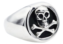 Load image into Gallery viewer, Mens Onyx And Stainless Steel Skull Ring - Blackjack Jewelry