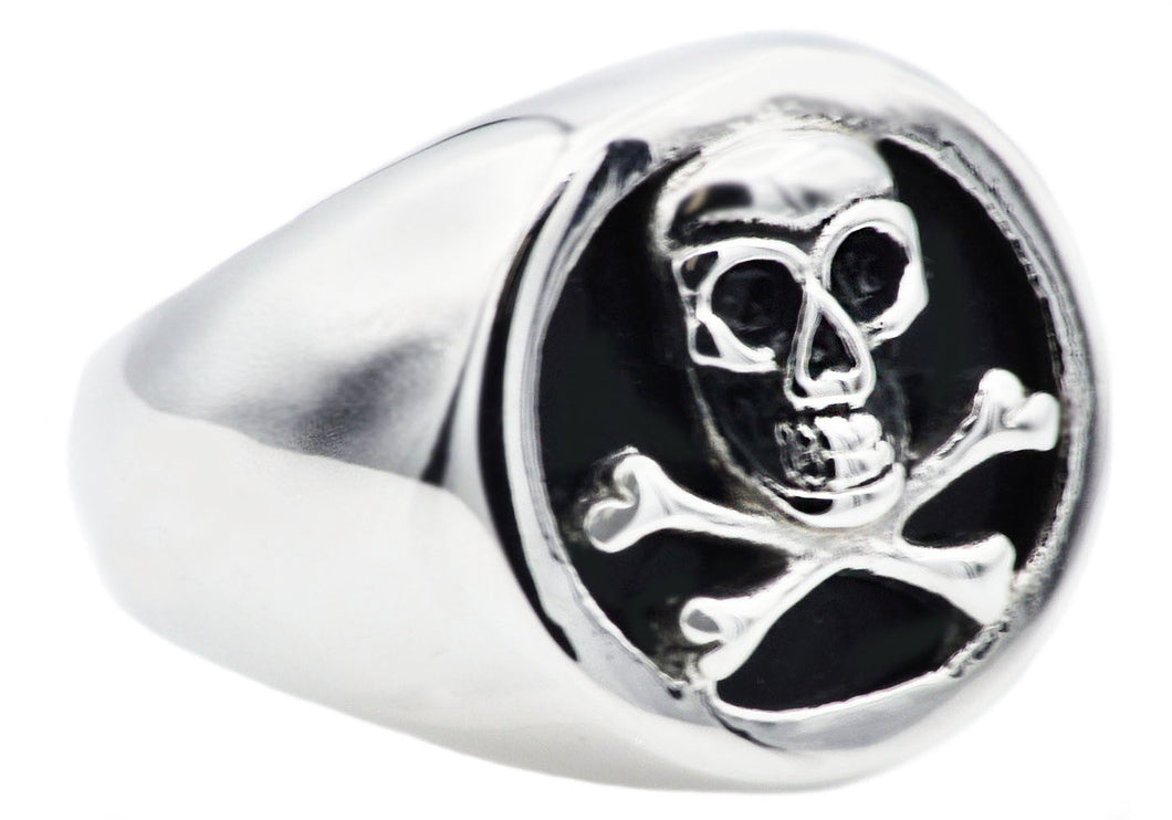 Mens Onyx And Stainless Steel Skull Ring - Blackjack Jewelry