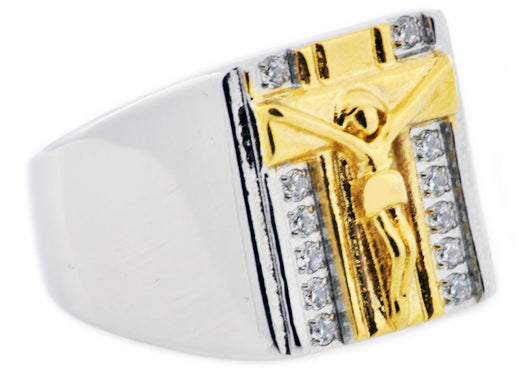 Mens Gold Plated Stainless Steel Cross Ring With Cubic Zirconia