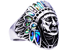 Mens Genuine Abalone And Stainless Steel Ring