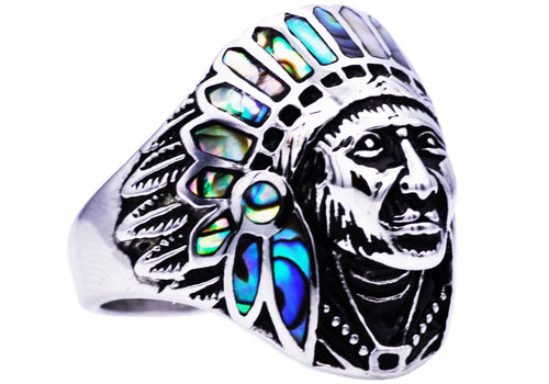 Mens Genuine Abalone And Stainless Steel Ring - Blackjack Jewelry